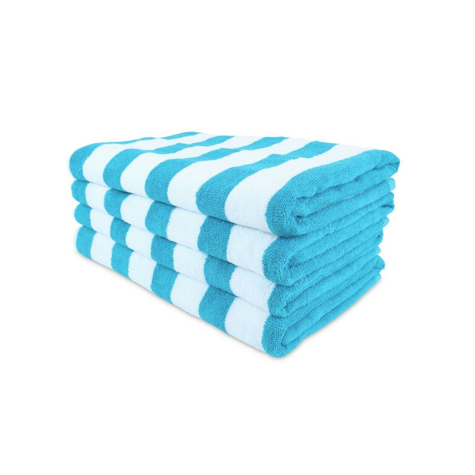 4 Pack of Cabana Beach Towels - 30 x 60 Striped Colors - Bul