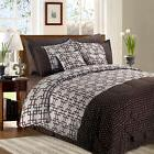 8+2 Piece Luxury Plaid Bedding Comforter Set Plaid Prints Fu