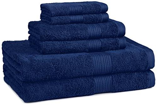 AmazonBasics Fade-Resistant 6-Piece Cotton Towel Set, Navy B
