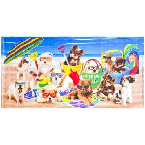 Animal World - Dogs Being Cool at the Beach Velour Beach Tow