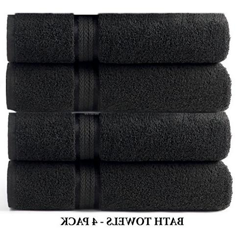 Cotton Craft 4 Pack Oversized Towels 30x54 100% Ringspun - Rayon Trim - Use Each Weighs 22 Ounces