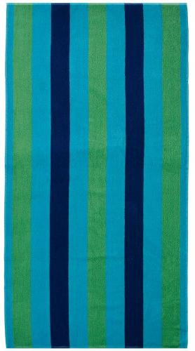 Cotton - Towel for Two - Cabana Green Turquoise Blanket 100% Pure Ringspun GSM Oversized Jacquard Woven Velour - Thick