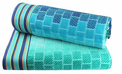 Cotton - 2 Pack Double Woven Towel - Blue - absorbent - 450 per square meter 100% Pure Cotton