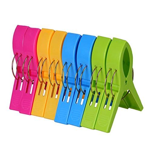 Ecrocy 8 Pack Beach Towel Clips in Bright Colors - Jumbo Siz