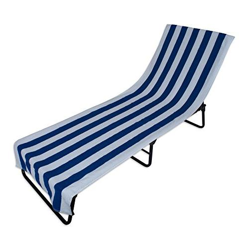 J & M Home Fashions Lounge Chair Beach Towel With Fitted Poc