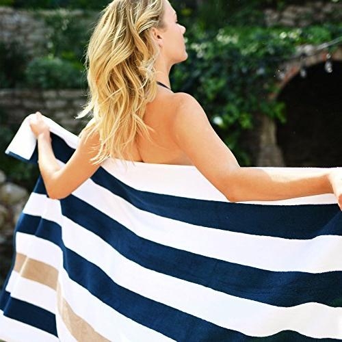 Oversize Cabana Towel by Beach Co | Navy Almond Classic, Beach and Pool House Towel
