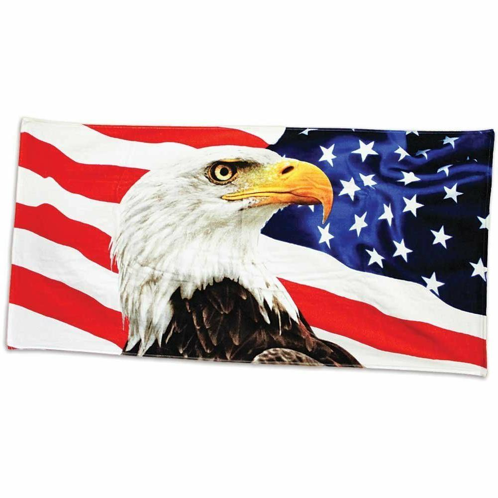 "American Eagle Beach Towel - 30"" x 60"" - Velour - Made In Br"