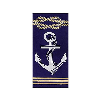 anchor navy blue beach and bath towel