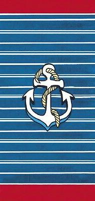 Anchor & Stripes Brazilian Velour Beach Towel 30x60 inches