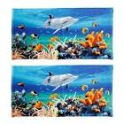 Animal Print Beach Towel Set of 2 Cotton Velour Reef Dolphin