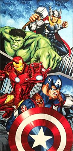 Avengers Team Beach Towel measures 28 x 58 inches