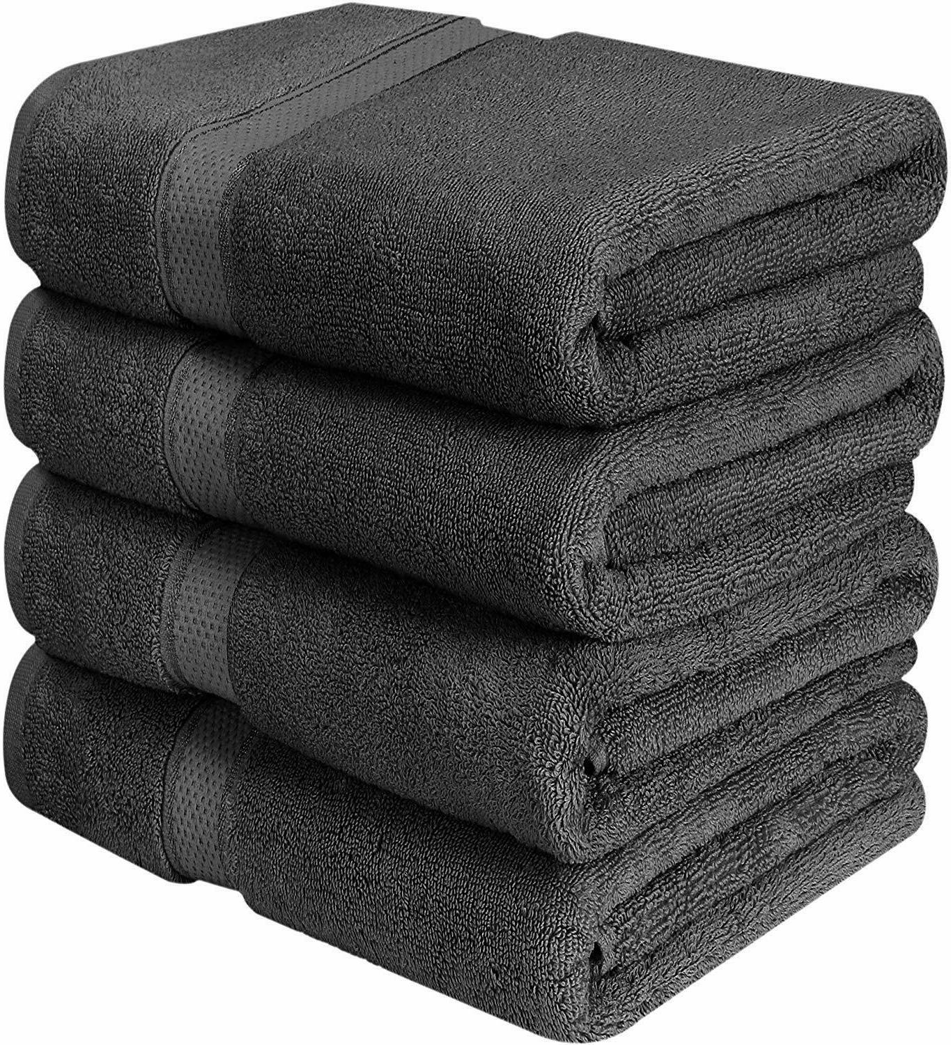 Bath Towels 4 Pack Towel Set 27 x 54 Inches Cotton Soft 600