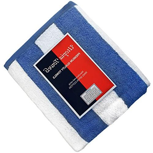 Utopia Towels Stripe Beach Large Pool Towel Large Sheet Blue and
