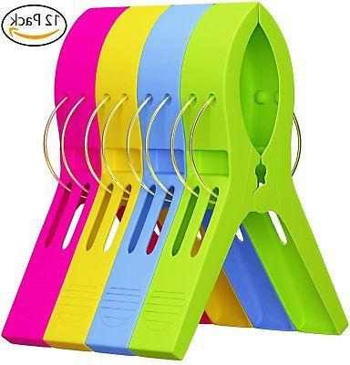 Attmu Beach Towel Clips , Towel Holder in Fun Bright Colors,