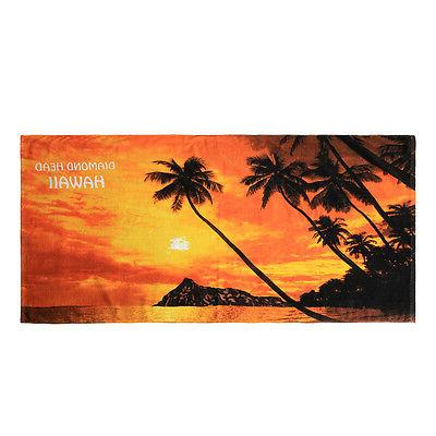 beach towel cotton red sunset