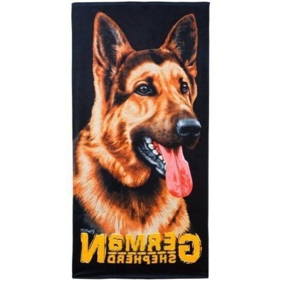 beach towel dog german shepherd puppy kids