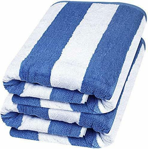 beach towel large cabana striped blue cotton