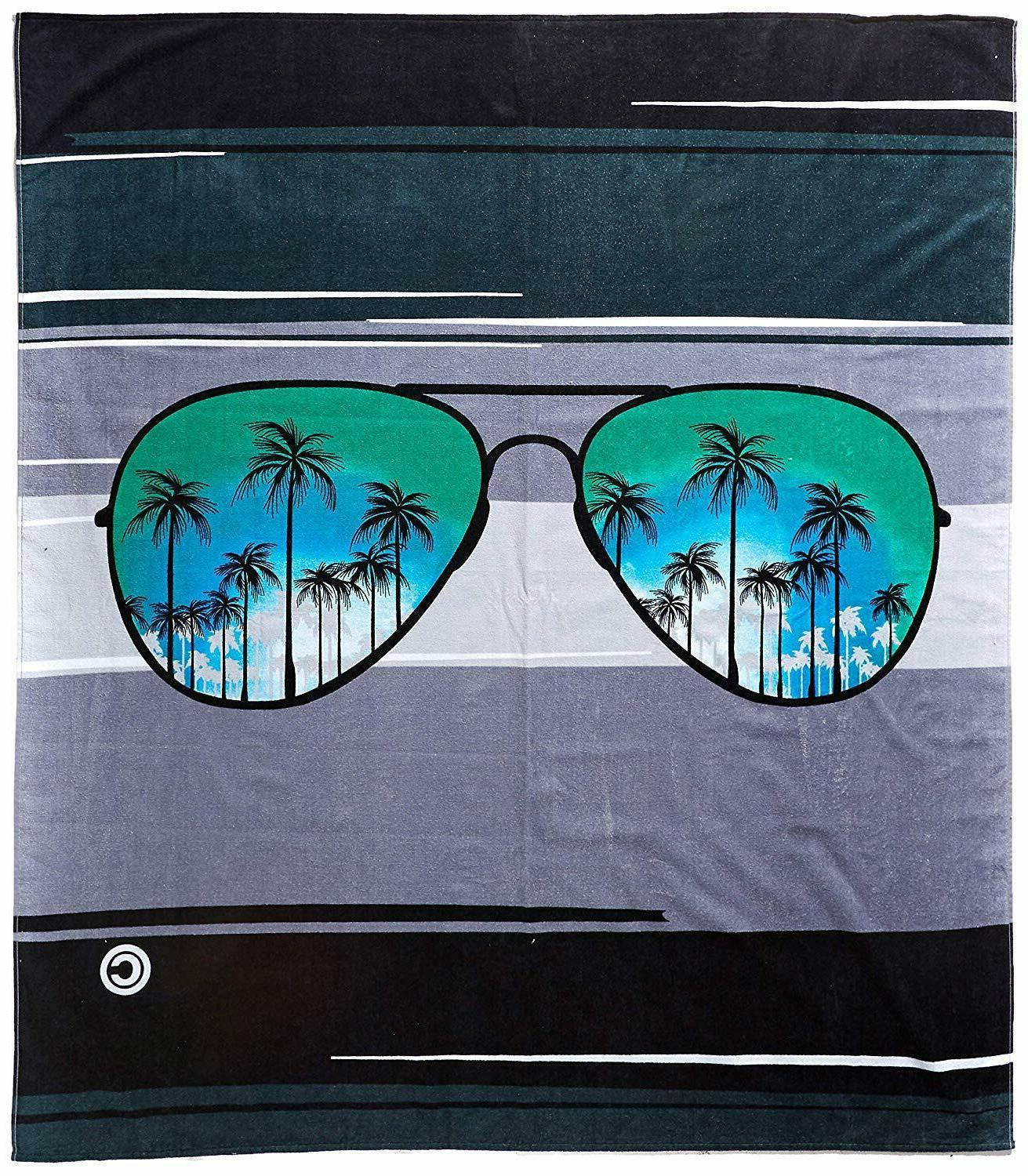 blue sunglasses beach and pool towel 105096