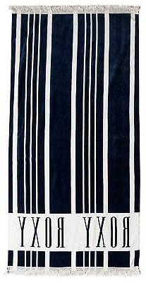 Roxy Cant Wait Beach Towel - Dress Blues Vertical Stripes -