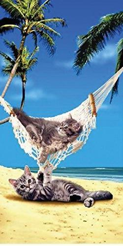 Cats & Kittens on Vacation 30x60 Cotton Velour Beach Towel