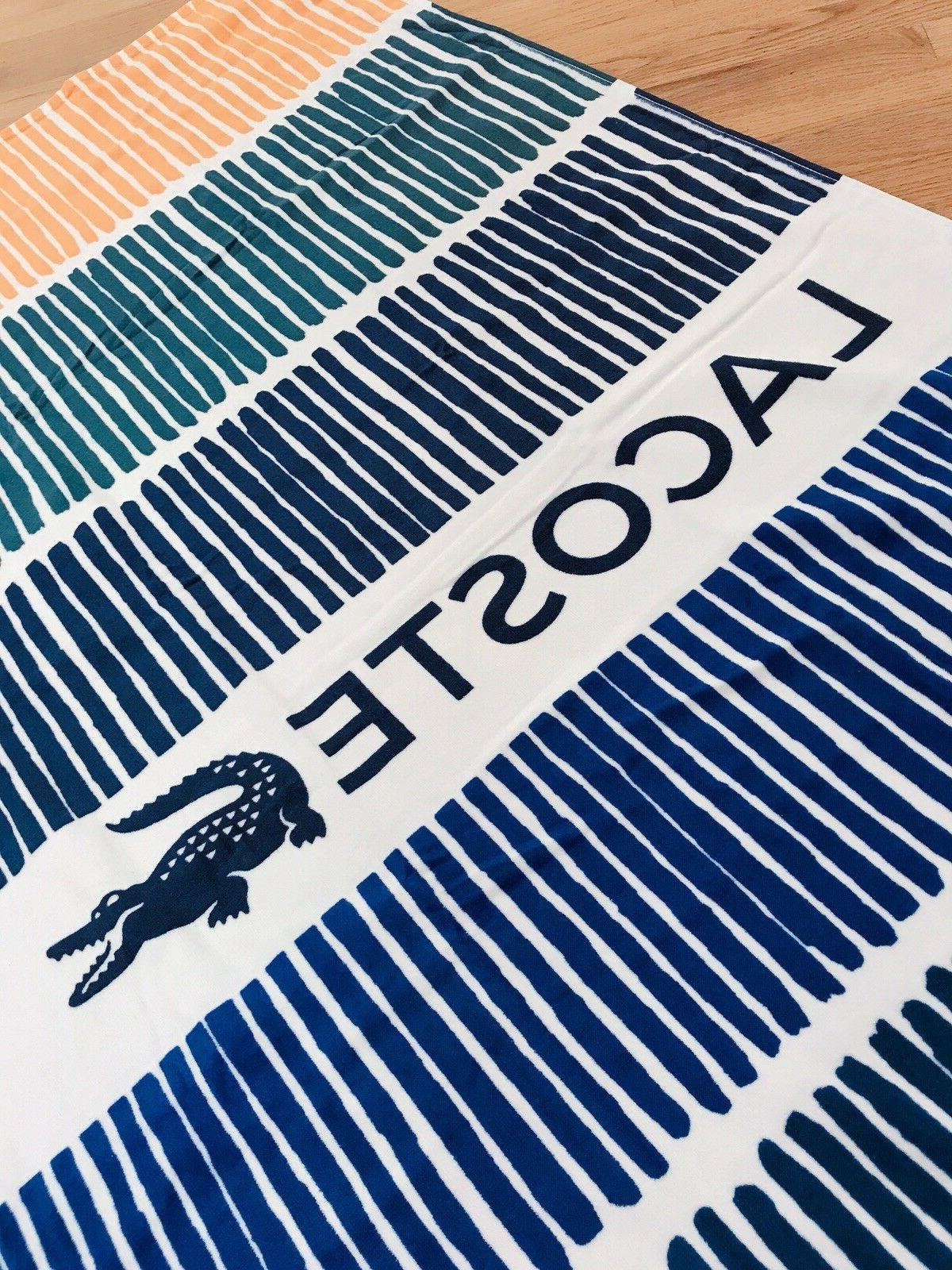 "LACOSTE Cocktail in Blue 100/% Cotton Stripe Logo-Print 36x72/"" Beach Towel  BNWT"