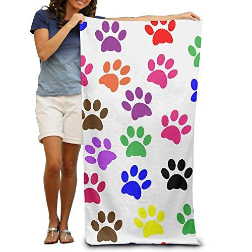 colorful paw prints polyester beach