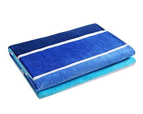 Exclusivo Mezcla Cotton Beach Towel, Pool Gradient Blue Striped -Soft, Quick Lightweight, and