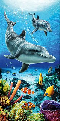 """Dolphins Life & Fish Beach Towel - 30"""" x 60"""" - Velour - Made"""