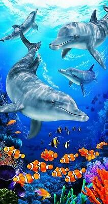 dolphins on the reef beach towel size