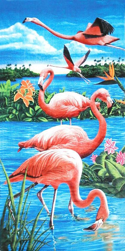 flamingos lake beach towel