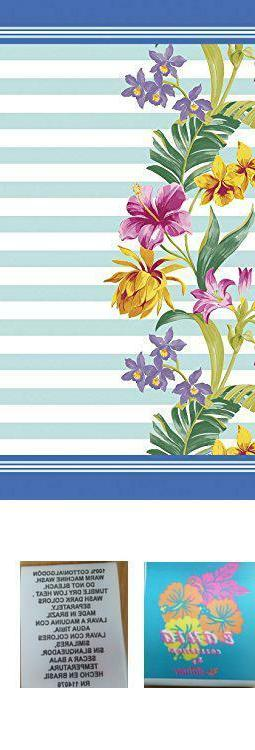floral stripes velour brazilian beach towel 30x60