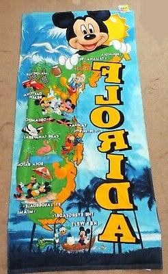 Disney Florida Beach Towel State Map Mickey Minnie Mouse Vac