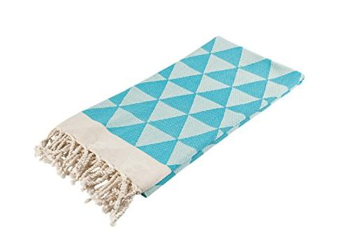 geometric print aqua turkish towel