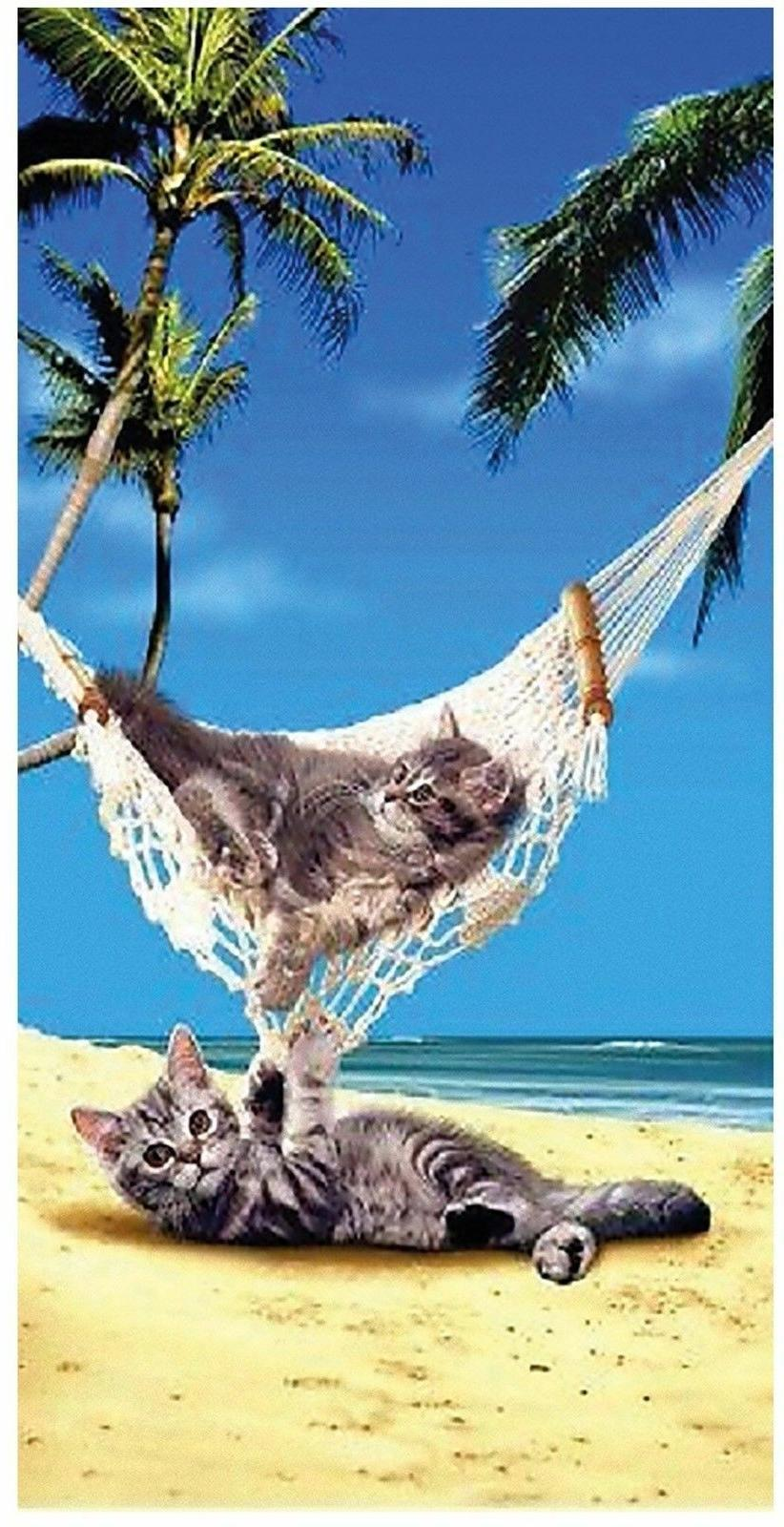 "Hammock Cats Beach Bath Towel 30"" x 60"" Cat Kitty Relaxing o"
