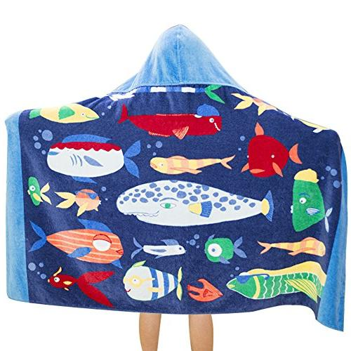 Kid's Hooded Bath Towel Cute Cartoon Toddler Boy Girl 100% C
