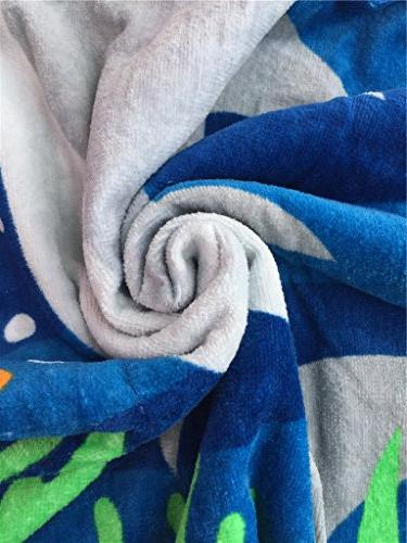 Hooded for One Years Toddler/Kid Cotton, Use for Pool, 24X48 Ultra and Soft Seasons, Shark