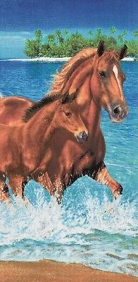 horses water beach towel