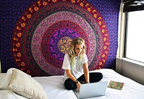 FLY SPRAY Mandala Beach Purple Gypsy Colorful Blanket Yoga 70x58inches