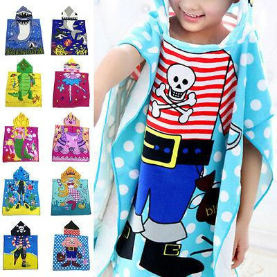 Kids Unisex Summer Hooded Poncho Swim Beach Bath Towel Wear