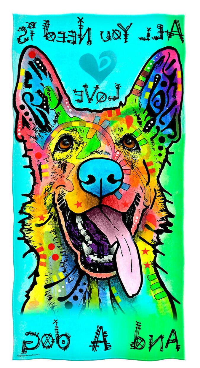 love and a dog german shepherd cotton