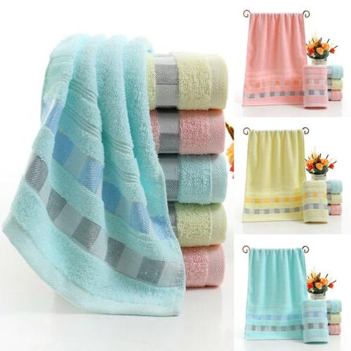 Cotton Face Hand Bath Towel Plaid Quick-dry Home Hotel Bathr