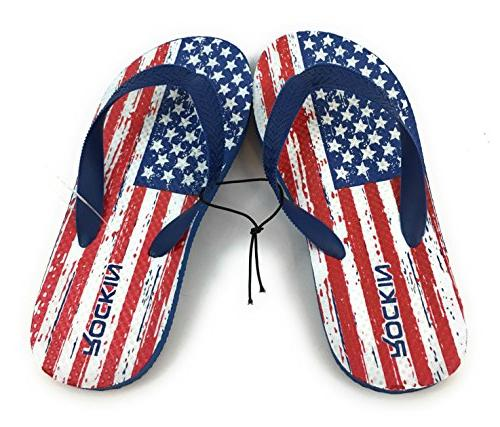 Beckon WHITE COTTON Beach YOUTH Size 1 FLOPS Rubber PATRIOTIC STYLE