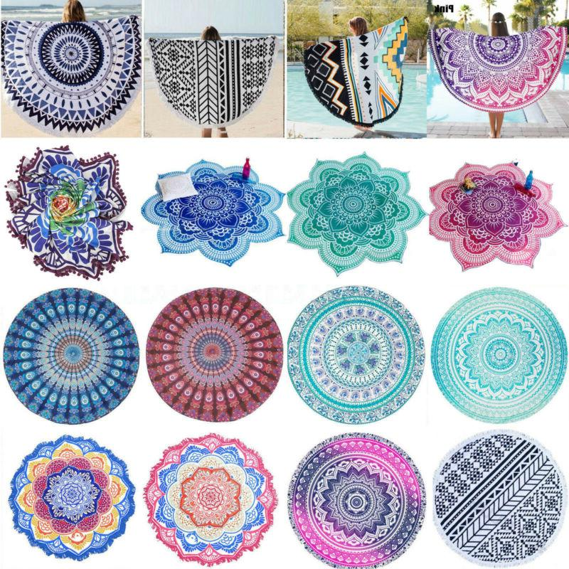 Round Hippie Mandala Indian Tapestry Throw Boho Beach Yoga M