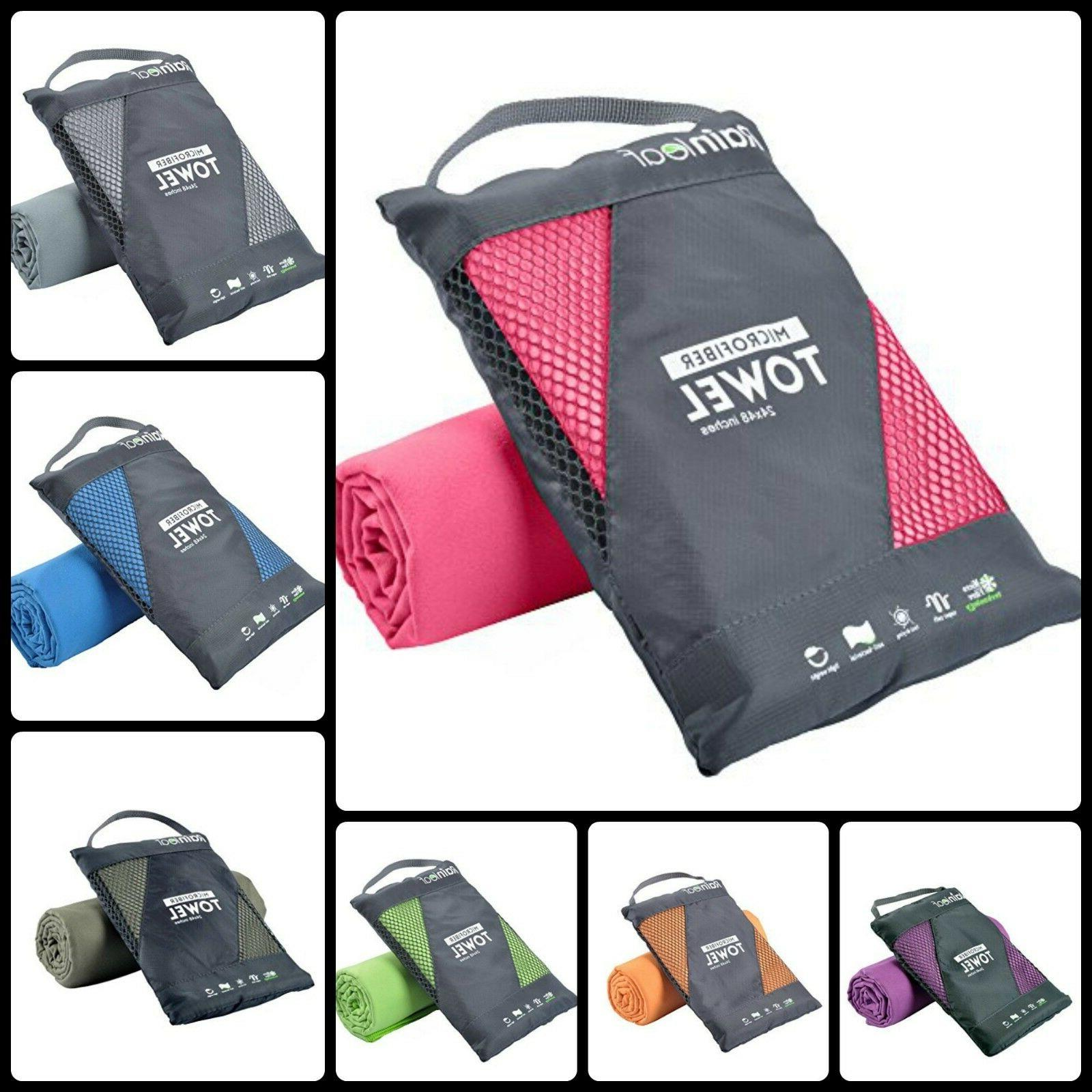 Microfiber Towel Camping Gym Beach Backpacking Swimming Supe