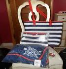 Vera Bradley Navy Striped Tote and Cosmetic plus Turtles Bea