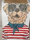 NEW QUEEN WEST BEACH DOG WITH GLASSES SET OF 2 TEA TOWELS