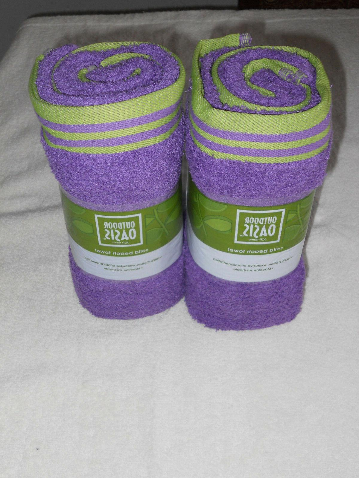 NWT Outdoor Oasis  Pool or Beach Towel, 100% Cotton, Purple,