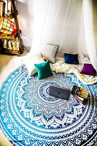 Folkulture 2 Round Beach Towels or Boho Tapestry or Bohemian Throw, Table Rug Yoga - Inches, and Pink