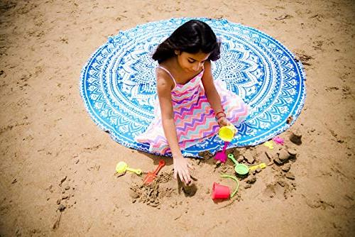 Folkulture Set Round Boho Mandala Tapestry or Throw, Circle Tablecloth or Table Cover, Rug or Yoga - 72 and Pink