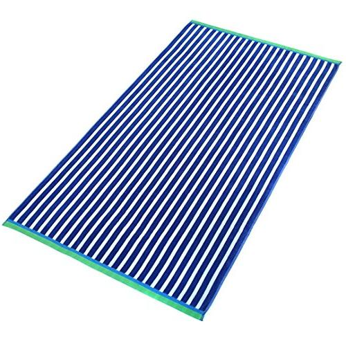 """Oversized 40"""" Stripe and Solid Color Velour Super Soft Beach and Pool Towel of Care,"""